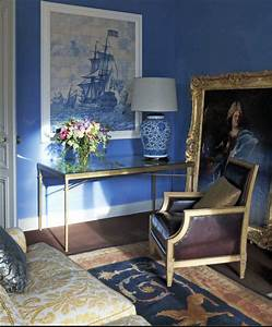 Regency, Style, Living, Room, With, Cornflower, Blue, Walls, And