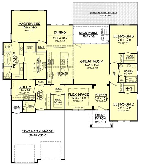 bedrm  sq ft craftsman plan