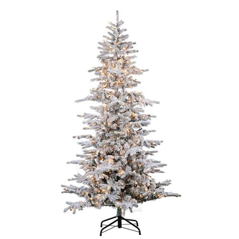 sterling nine foot flocked led trees sterling 9 ft pre lit flocked cambridge fir tree 5865 90c the home depot
