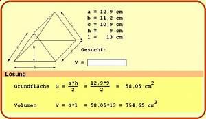 Volumen Quader Berechnen : pin prisma berechnen prisma volumen oberfl che und mantelfl che on pinterest ~ Themetempest.com Abrechnung