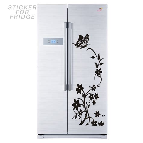 Fridge Decoration Stickers by Winding Flower Vine With A Butter On The Top Fridge