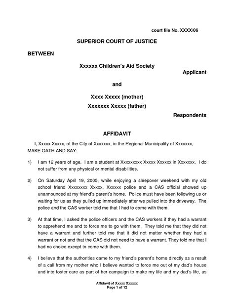 How To Write A Letter Of Affidavit