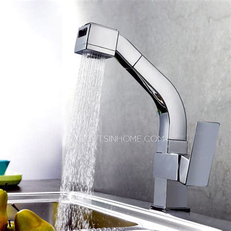 high  square shaped pullout rotatable kitchen faucet
