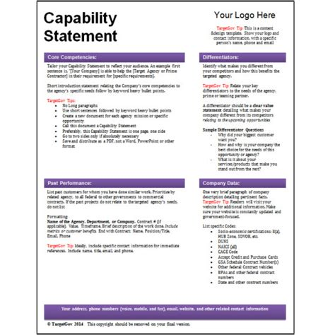 Capabilities Statement Template by Capability Statement Template Playbestonlinegames