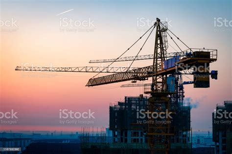 Construction Site Under Sunset Stock Photo - Download ...