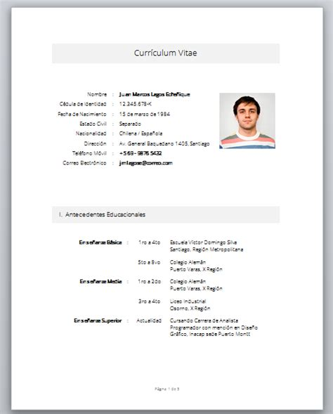Curriculum Vitae Basico Formato Word Para Llenar Gratis Example