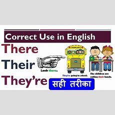 Correct Use Of 'there', 'their', 'they're' In English With Examples Sentences In Hindi Youtube