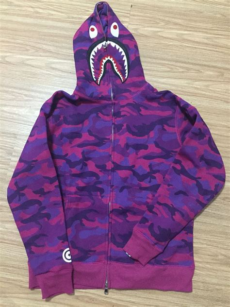 FREE SHIPPING BAPE SHARK HOODIES Full Camo Shark Hoodies Full Zip up Purple-in Hoodies ...