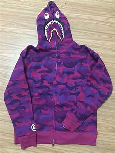 FREE SHIPPING BAPE SHARK HOODIES Full Camo Shark Hoodies Full Zip up Purple-in Hoodies ...