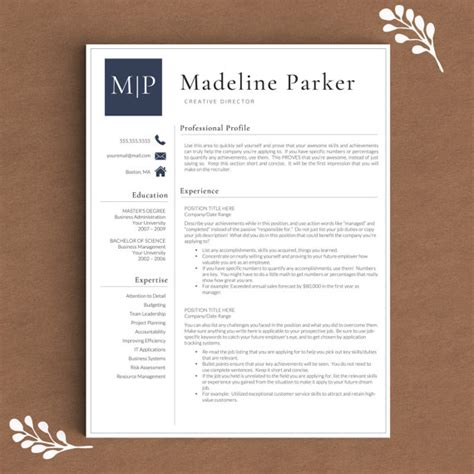professional resume template for word pages 1 2 and 3