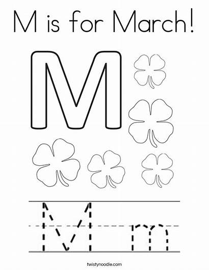 Coloring March Printable Letter Pages Number Template