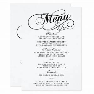 elegant black and white wedding menu templates card zazzle With wedding menu samples templates
