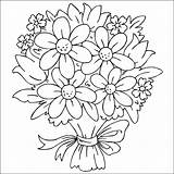 Coloring Flowers Bouquet Pages Printable Childrens sketch template