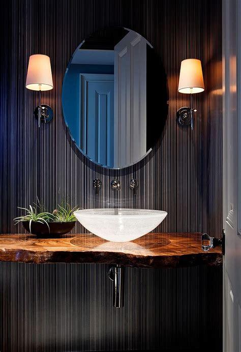 de cuisine light tropical powder room with live edge wood vanity