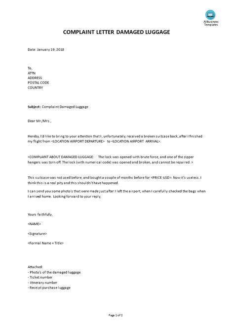 complaint letter damaged luggage templates