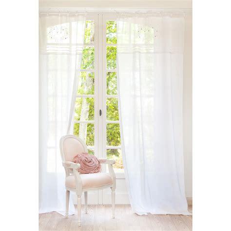 voilage chambre bébé garçon rideau à nouettes brodé en coton blanc 110 x 250 cm eloise