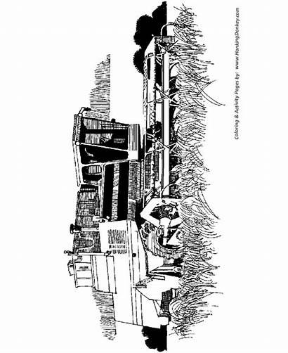 Farm Coloring Pages Equipment Machine Machines Thresher