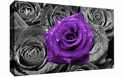 Canvas Purple Rose Abstract Wall Roses Bed