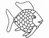 Fish Rainbow Printable Template Coloring Scale sketch template