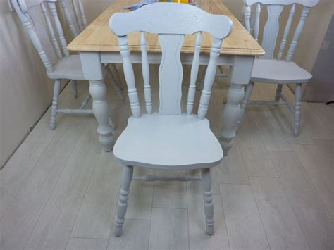 ft solid wood farmhouse table   chairs painted