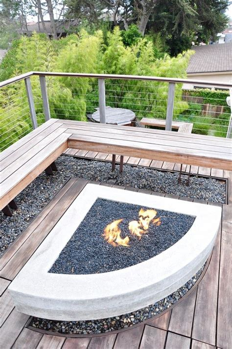 built in patio pits wood burning fire pit patio contemporary with bench built in bench cable railing concrete fire