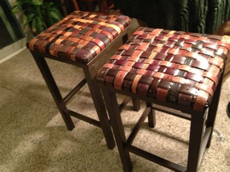 hand crafted custom backless barstools  woven recycled leather belt seat  crazybeltlady