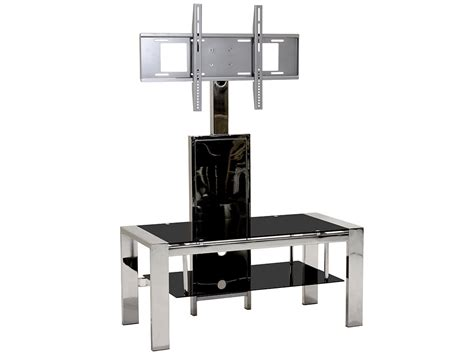 flat screen table stand chrome black glass flat screen tv table stand media unit