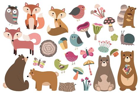 woodland spring  pc vector png illustrations