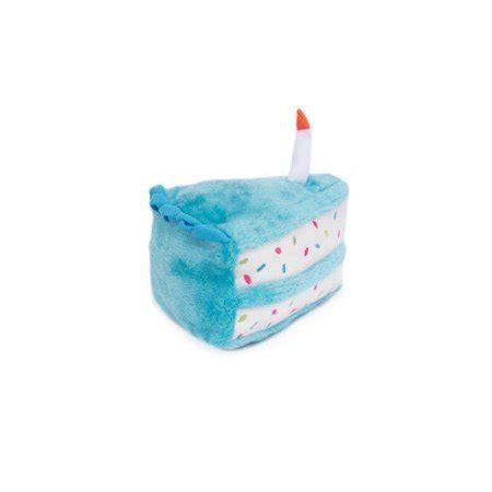 zippypaws plush birthday cake dog toy blue  size