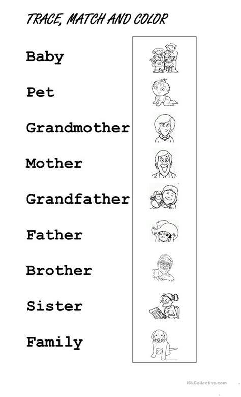 trace family members worksheet free esl printable