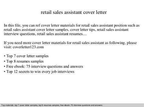 Cover Letter Exles For Sales Assistant No Experience by Retail Sales Assistant Cover Letter