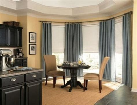 simple  adorable bay window curtains designs