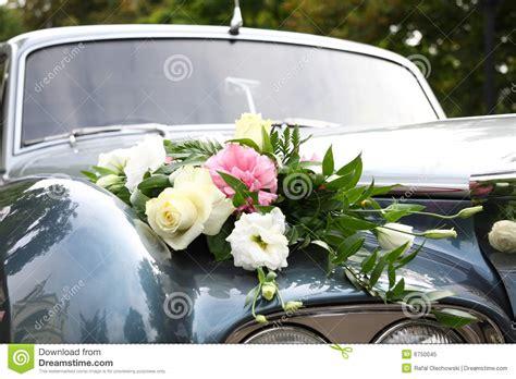 wedding car decorated  flowers stock image image