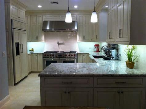 creamy white delicatus finished kitchen