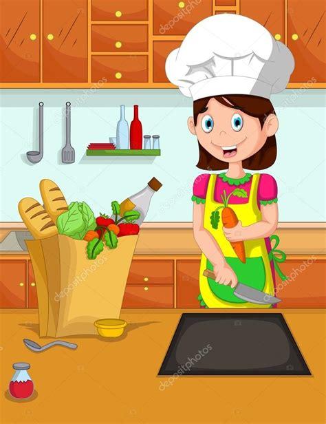 dessin animé cuisine cuisinier de dessin animé mignon maman dans la cuisine