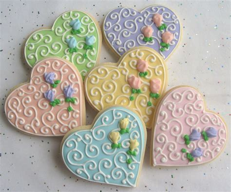 Romantic Heart Decorated Cookie Favors Wedding Heart