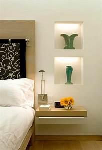 Table De Nuit Murale : installer une table de nuit suspendue pr s de son lit les avantages ~ Teatrodelosmanantiales.com Idées de Décoration