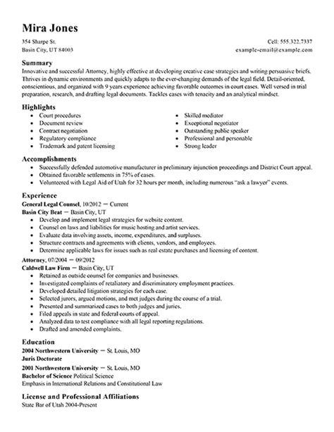 Best Resumes For Lawyers by Lawyer Resume Sle Berathen