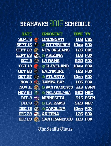 seahawks  regular season schedule  set seattle