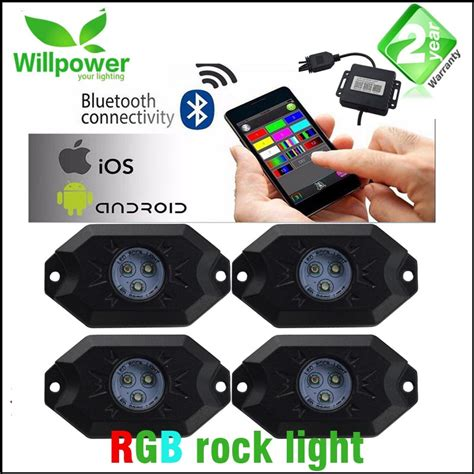 rgb rock lights bluetooth app color changing 4 pods 8 pods waterproof bluetooth remote