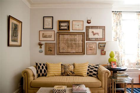 Gold Framed Wall Art Living Room Eclectic With Beige Sofa