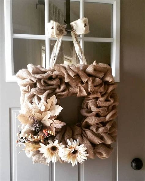 Square Wire Form Wreath With Burlap For Front Door