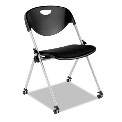 sl series nesting stack chair with casters black 2