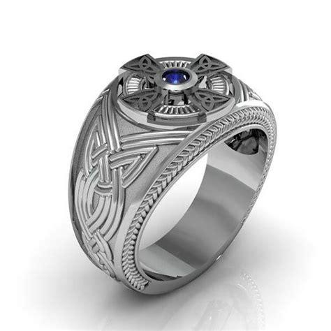 sterling silver mens blue sapphire celtic cross ring