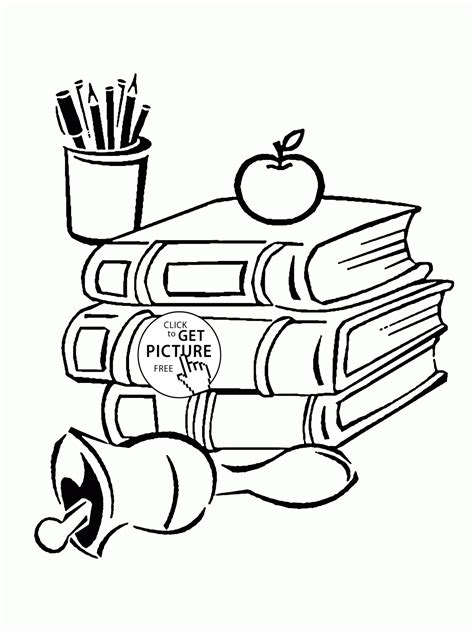 School Books and Supplies coloring page for kids back to