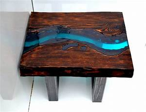 quotturkusowa rzekaquot industrial coffee table handmade old With wood and resin coffee table