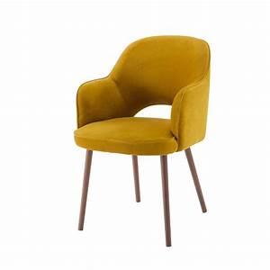 Fauteuil En Velours : fauteuil en velours jaune moutarde sacha maisons du monde ~ Dode.kayakingforconservation.com Idées de Décoration