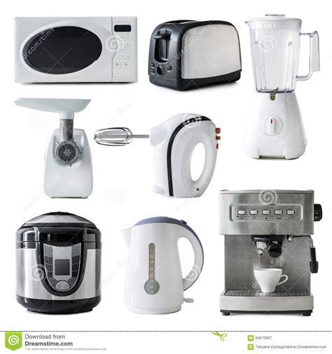 Different Types Of Kitchen Appliances Collage Stock Photo