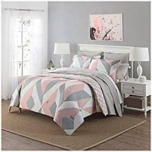 light pink and grey bedding amazon com 3 piece girls light pink grey white geometric