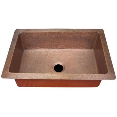 imperial undermount copper 33x22x10 0 hole single bowl